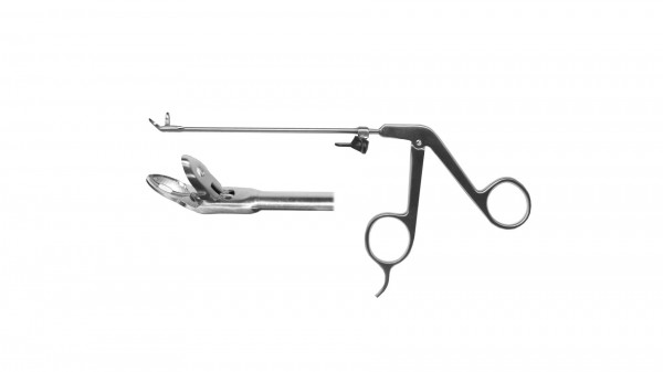 Blakesley spoon forceps, 45° upswept, handle on pressure w/o finger support