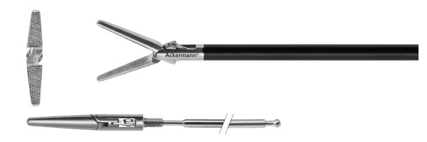 Atraumatic grasper, double action, diamond serrated, Ø 5 mm